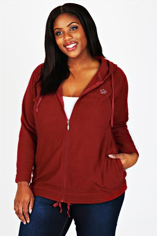 Red Microfleece Hoodie With Zip Fastening And Front Pockets