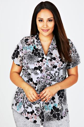 Black & Cream Floral Print Short Sleeved Blouse With Pleat Detail