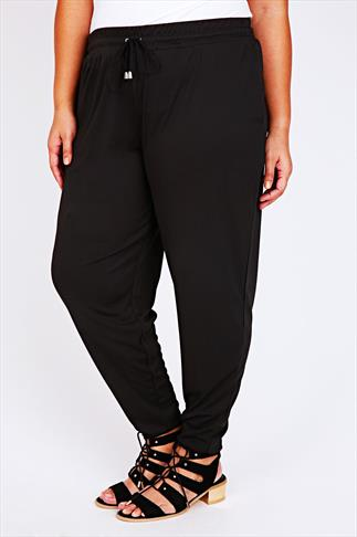 Black Jersey Harem Trousers With Pockets & Drawstring Waist