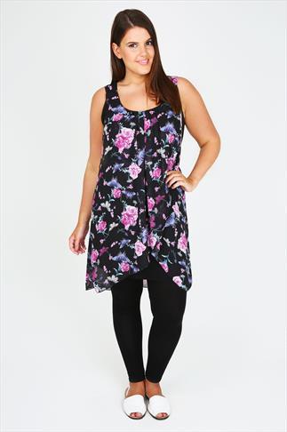Black, Pink & Purple Butterfly Print Chiffon Overlay Tunic Dress