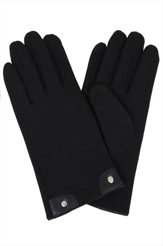 Black Fur Lined Gloves With Stud Detail