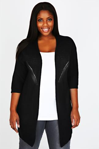 Black Batwing Cardigan With Stitch Detail