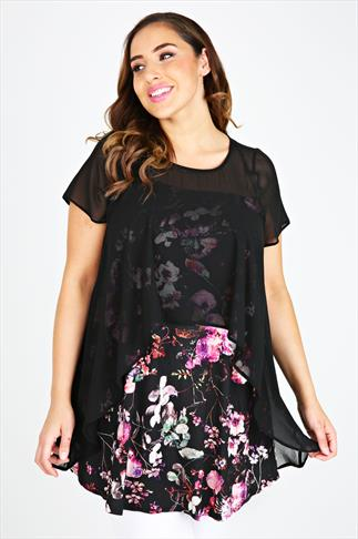Black And Pink Floral Print Double Layer Longline Top
