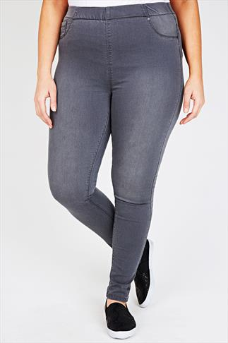 Grey Denim Jeggings With Faded Leg Detail