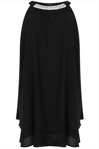 Black Chiffon Sleeveless Swing Dress With Jeweled Embellishment