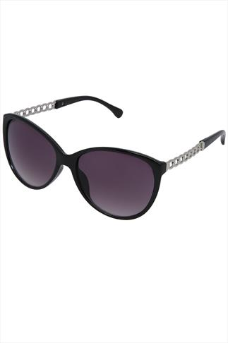 Black Frame Sunglasses With Chain Arm Detail