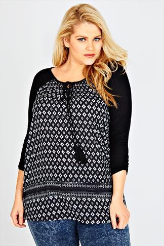 Black & White Tile Print Long Sleeved Gypsy Top