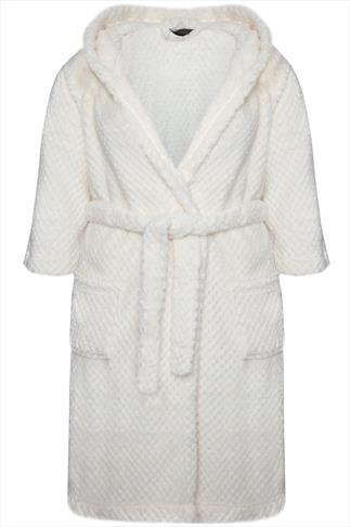 Cream Teddy Bear Hooded Fluffy Waffle Dressing Gown