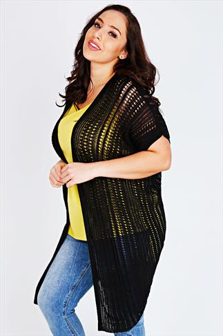 Black Knitted Cardigan With Back Split Hem Detail