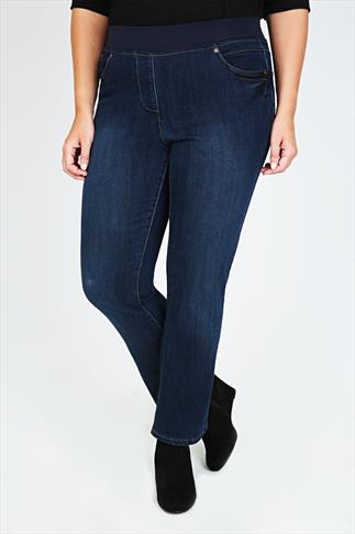 Indigo Wide Leg Slouch Pull On Jeans With Contrast Waistband