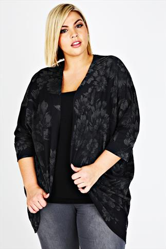 Black & Grey Floral Print Cocoon Shrug Cardigan