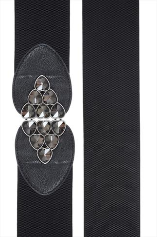 Black Jewel Heart Clasp Elasticated Waist Belt