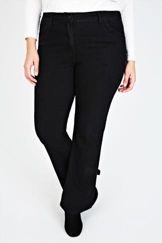 Black Bootcut Jeans With Stitch Detail