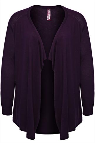 Purple Fine Knit Cardigan With Waterfall Front