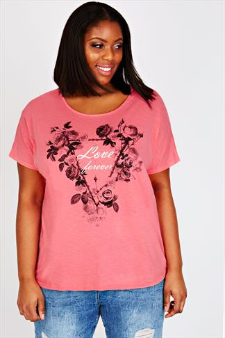 Coral Oversized Short Sleeved T-Shirt With 'Love Forever' & Floral Print