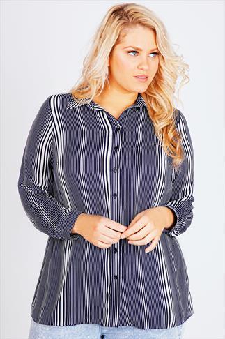 Navy and White Vertical Stripe Print Sheer Shirt