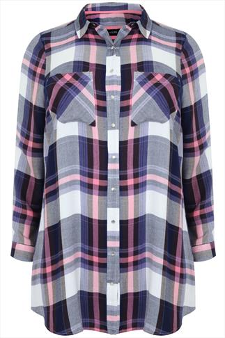 Blue & Pink Checked Popper Button Boyfriend Shirt With Pockets