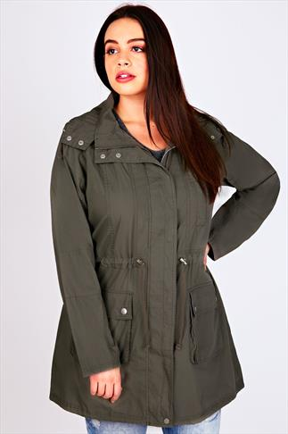 Khaki Washed Cotton Parka Jacket With Hood