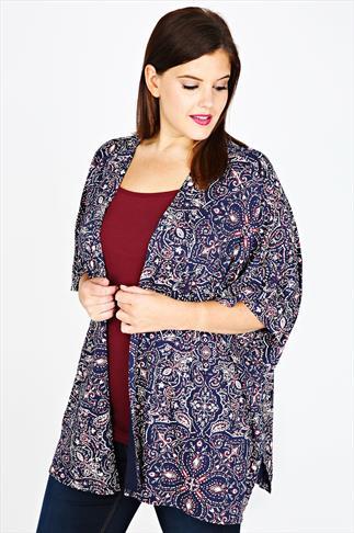 Navy Paisley Print Jersey Kimono