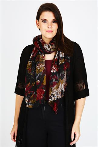 Dark Wine & Black Floral Print Scarf