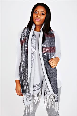 Grey & Pink Aztec Print Blanket Scarf With Fringing Detail
