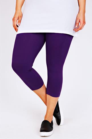 Purple Cotton Elastane Cropped Leggings