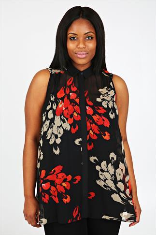 Black & Red Feather Print Chiffon Sleeveless Blouse