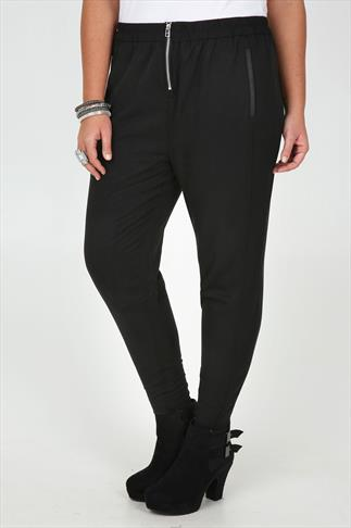 Black Slouchy Trousers With Zip Front And PU Trim Faux Pockets