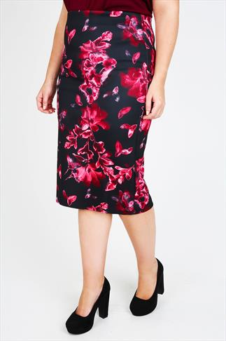 Black & Pink Floral Print Pencil Skirt With Zip Detail
