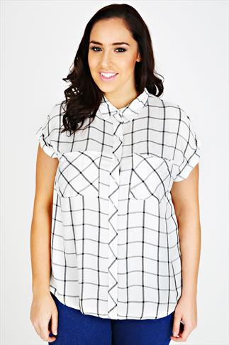 Ivory & Black Grid Checked Shirt With Turnback Sleeves
