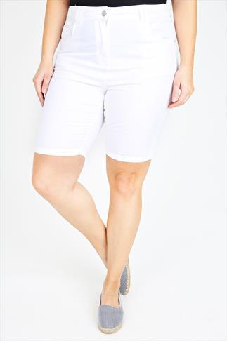White Twill Denim Shorts