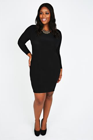 Black Bodycon Long Sleeved Dress With Cowl Back