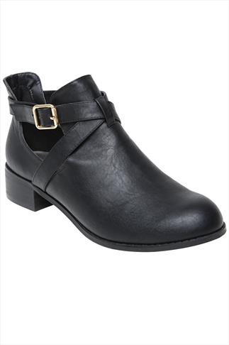 Black Cut Out Ankle Boots With Crossover Straps In EEE Fit