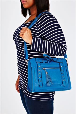 Cobalt Blue studded Tote Bag With Zip Pocket Front