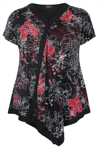 Multi Border Top in Floral Print With Tie Back