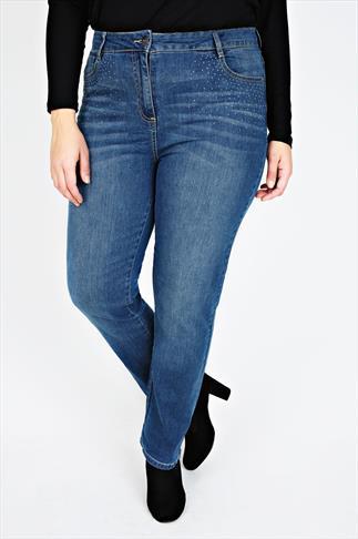 Mid Blue Denim Straight Leg Jeans With Diamanté Detail