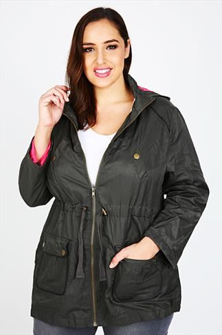 Khaki Parka Jacket With PU Trim And Contrast Jersey Lining
