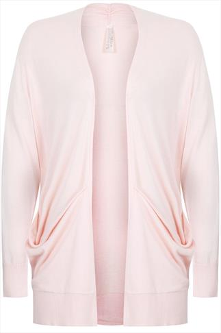 Pink Longline Slouch Pocket Cardigan