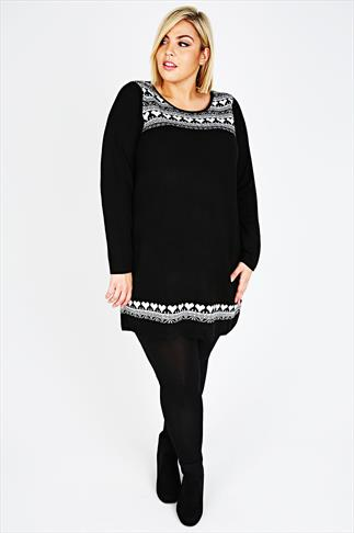 Black & White Alpine Print Knitted Tunic Jumper