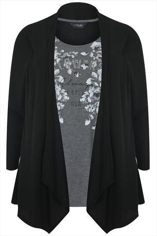 Black & Grey Floral Print Longline 2 in 1 Top With Long Sleeves
