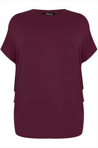 Wine Short Sleeve Drop Shoulder Top