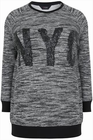 Grey Scoop Neck Jumper With NYC Sequin Embellishment