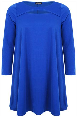 Cobalt Swing Tunic Dress With Cut Out Detail