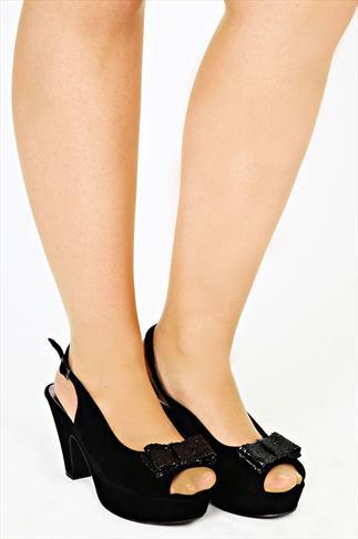 Black Platform Slingback Heel With Bow Detail EEE Fit