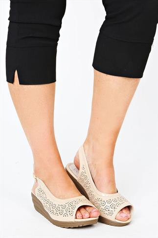 Nude Patent Cut Out Peep Toe Wedge In A EEE Fit