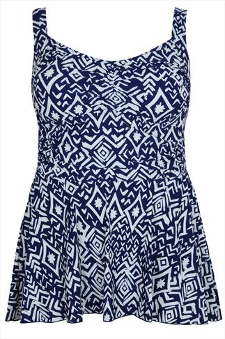 Navy & Cream Tribal Print Swimdress With Ruching Detail