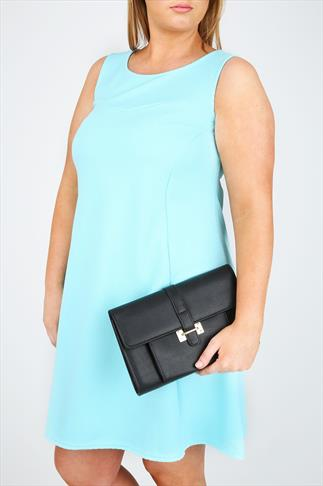 Black Over Strap Clutch With Front Pocket Detail