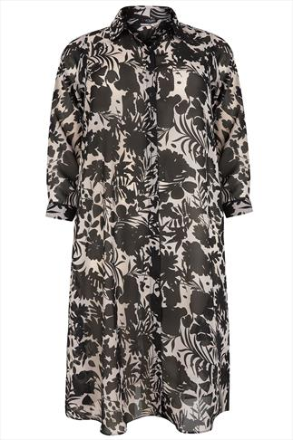 Black & Cream Topical Print  Maxi Shirt
