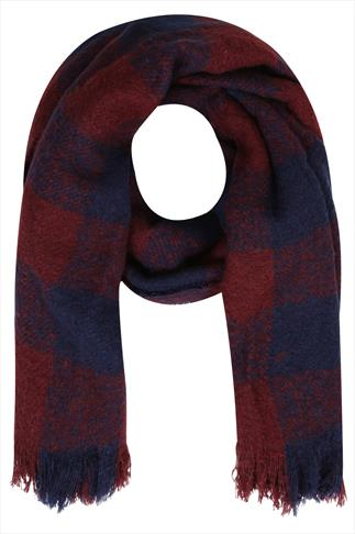 Wine Red And Navy Checked Scarf