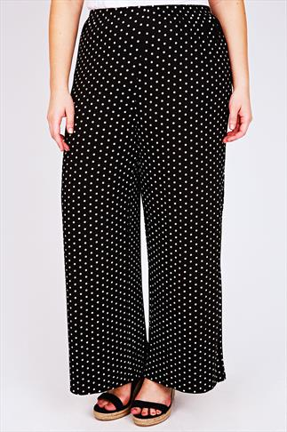 Black & White Polka Dot Print Jersey Palazzo Trousers